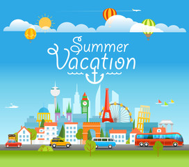 Vacation travelling concept with logo. Summer vacation concept