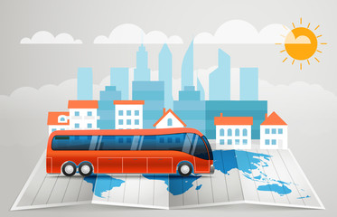 World map with the bus. Vector infographic elements. Summer vaca