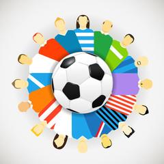 National teams football players around the soccer ball. Vector c