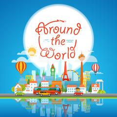 Vacation travelling concept. Around the world, Vector travel ill