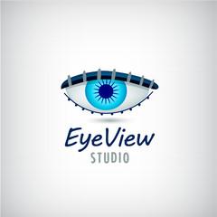 Vector eye logo, visual media sign.