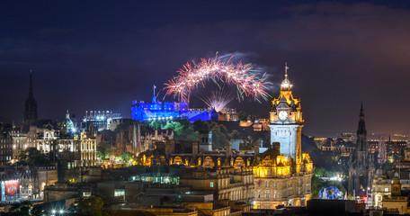 Wall Mural - Edinburgh Fringe and International festival fireworks,Scotland UK