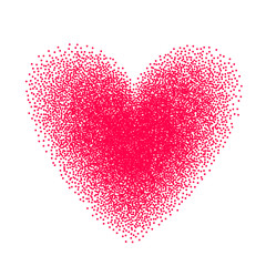 Heart drawn with stipple brush and polka-dots elements. Vector