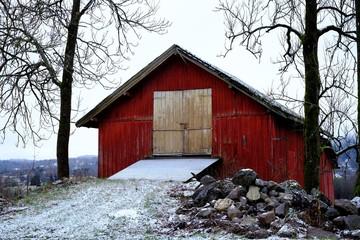 Red barn, snow