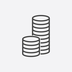 Money icon. Grey coins flat vector illustration