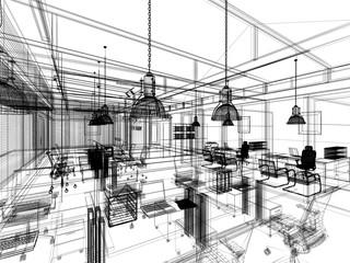 sketch design of interior office, wire frame