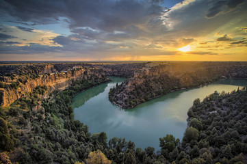 Amazing sunset in the Duratón river canyon