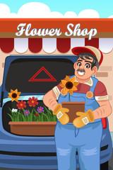 Man Loading Flowers into Van