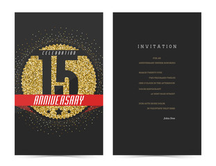 15th anniversary decorated greeting card template.