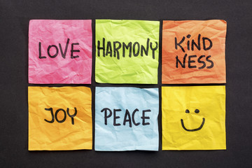 love, harmony kindness, joy and peace