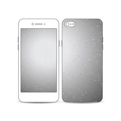 Mobile smartphone with an example of the screen and cover design isolated on white background. Molecular construction, connected lines, dots.