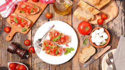tomato bruschetta with ingredient
