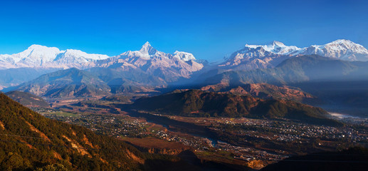 Panorama of Himalayas from Sarangkot, Pokhara, Nepal