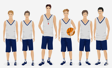 Young guys school basketball team with coach trainer. Vector illustration.