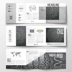 Set of tri-fold brochures, square design templates. Polygonal backdrop with golden connecting dots and lines, connection structure. Digital scientific background