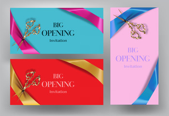 Big opening invitation cards with scissors and silk ribbons