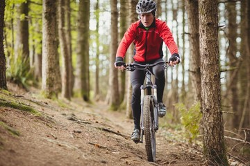 Front view of mountain biker riding in forest