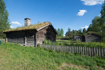 An old historic houses with grassroofs in Elverum, Norway