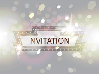 Invitation card with retro sign, stage spotlights and bokeh. Blurred background. Vector illustration
