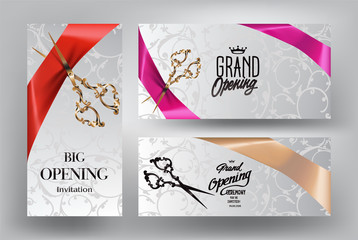 Ribbon cutting ceremony invitation cards with scissors and silk ribbons