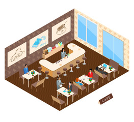 Interior of coffee cafe with wi-fi internet in an isometric view.