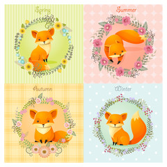 Set of season background with fox , vector , illustration