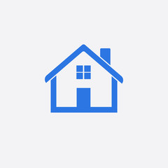 Blue home icon isolated on white background