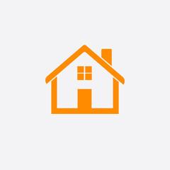 Orange home icon isolated on white background