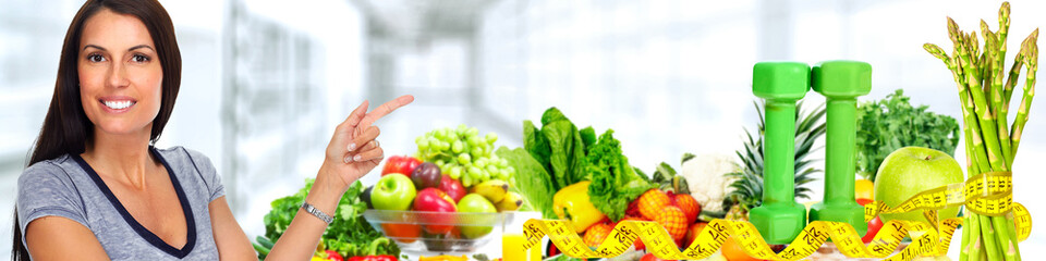 Fototapete - Beautiful asian woman with Vegetables and fruits.