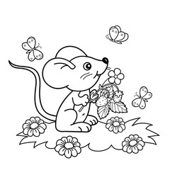 Coloring Page Outline Of cartoon little mouse with strawberries in the meadow with butterflies. Coloring book for kids