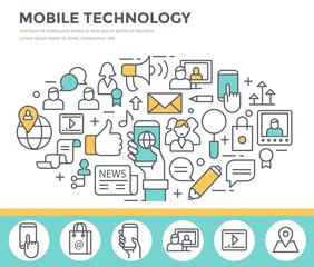 Mobile technology background, concept illustration, thin line flat design