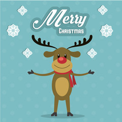 Deer icon. Merry Christmas design. Vector graphic