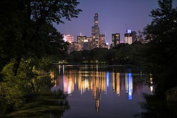 Night cityscape of Manhattan from Oak Bridge in Central Park