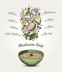 Sketched Mushroom Soup Ingredients Falling Down