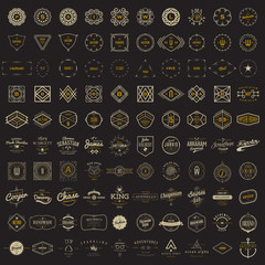 Vector logo, label, monogram, insignia bundle templates. 100 elements in classic, retro, vintage, hipster styles.