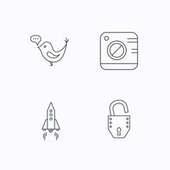 Photo, social media and rocket icons.