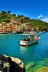 The beautiful bay of Portofino,luxury harbor with fishing ship