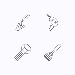 Spatula tool, drill and brush icons.