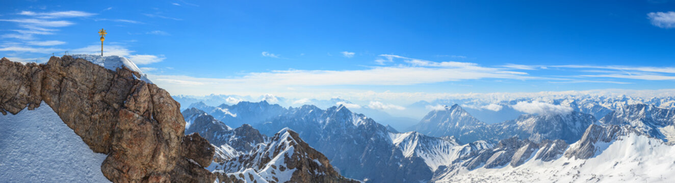 Zugspitze top of Germany panorama