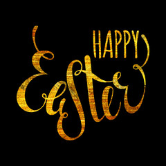 Happy Easter handwriting gold inscription