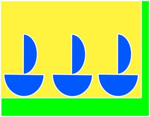 Três barcos azuis à vela sobre fundo verde e amarelo