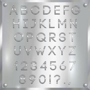 Vector silver coated alphabet letters, digits and punctuation on metallic background