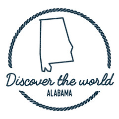 Alabama Map Outline. Vintage Discover the World Rubber Stamp with Alabama Map. Hipster Style Nautical Rubber Stamp, with Round Rope Border. USA State Map Vector Illustration.