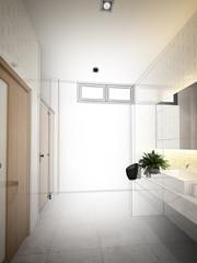 abstract sketch design of interior bathroom ,3d rendering