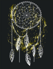 Handdrawn golden dream catcher with feathers on black background