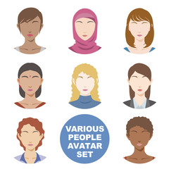 various races women avatar icon set, face as seen from the front, vector illustration