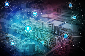 smart city diorama and wireless communication network, abstract image visual, internet of things