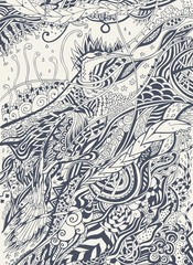 Beautiful hand drawn bird, vector drawing birds. Zentangle stylized bird. Doodle illustration isolated on light background. Sketch for tattoo or indian design. For postcard, t-shirt, bag or poster