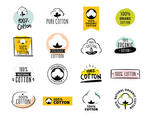 Natural organic cotton vector labels