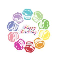 Cupcakes Happy Birthday label icon